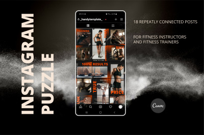 Canva Instagram puzzle feed template for fitness trainers