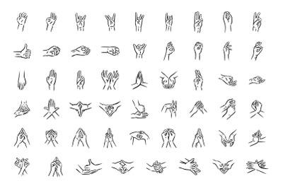 Mudras icon set. Hand spirituality hindu yoga of fingers gesture.
