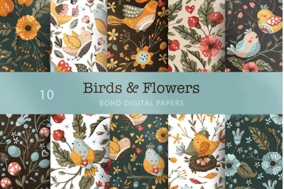 Birds & Flowers. Seamless pattern set.