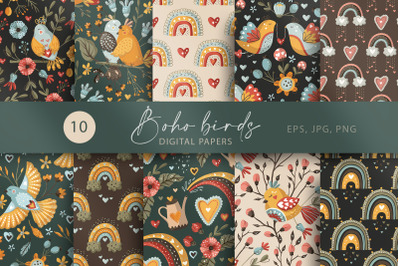 Boho Bird and Rainbow. Seamless Pattern set.