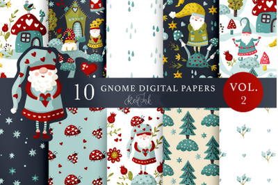 Gnome Seamless pattern set. Vol.2