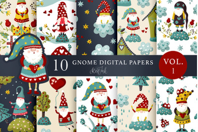 Valentines Gnome. Seamless patterns. Vol.1