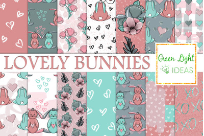 Valentines Bunnies Digital Papers, Cute Bunny Valentine Background