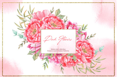 Watercolor Pink Flowers Collection