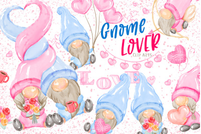 Valentine's Gnome Lover Clipart