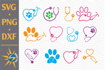 Paw Stethoscope SVG, PNG, DXF Digital Files Include