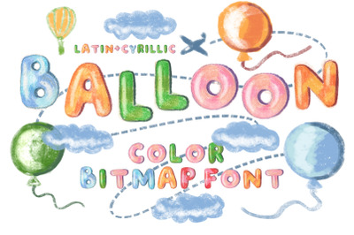 """Balloon"" color bitmap font"