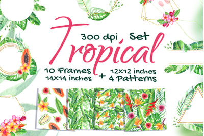 Gold Tropical Watercolor Frame Png Pattern Clip Art