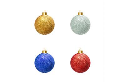Vector colorful realistic Christmas balls.