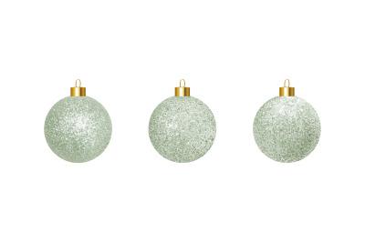 Vector silver realistic Christmas balls.