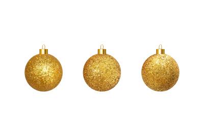 Vector golden realistic Christmas balls.