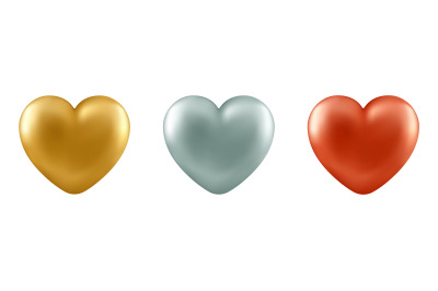 Vector realistic 3d hearts.