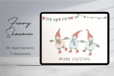 Funny Snowmen Illustration Set