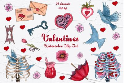 Valentine's Watercolor Clip Art