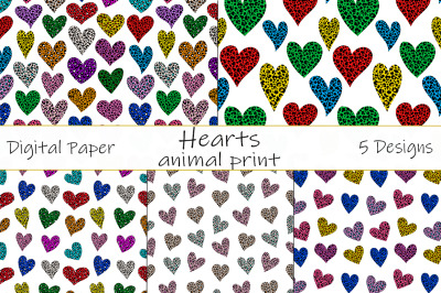 Leopard hearts pattern. Animal print pattern. Hearts SVG