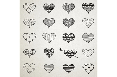 Hand Skeched Hearts Set. Black Hand Drawn Heart Shapes with Valentines