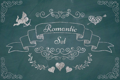 Chalk Drawing Hand Drawn Rustic Decorative Doodle Design Elements.