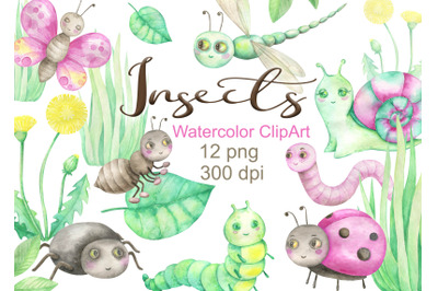 Watercolor insects clipart snail ant dragonfly butterfly caterpillar