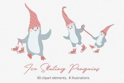 Ice Skating Penguins   Illustration Set