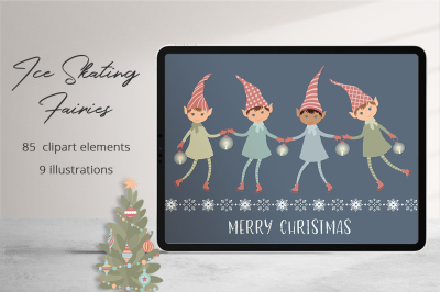 Ice Skating Fairies   Illustration Set