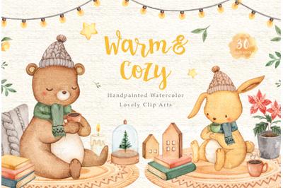 Warm & Cozy Watercolor Clip Arts