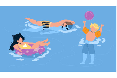 Kids Swimming And Playing In Waterpool Vector