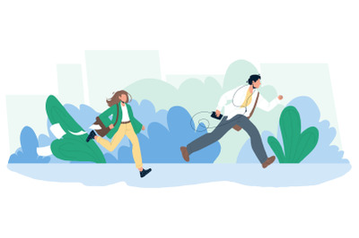 Late Person Man And Woman Running On Street Vector