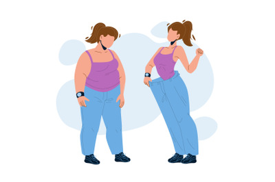 Loose Weight Woman Before And After Look Vector