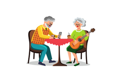 Pastime Of Senior Man And Woman Couple Vector