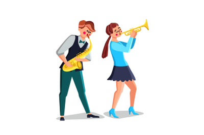 Musicians Playing on Saxophone And Trumpet Vector