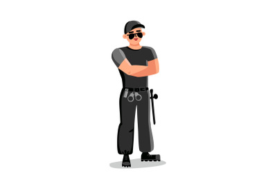 Security Man, Safeguard Protective Agent Vector