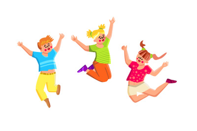 Smiling Kids Playing And Jumping Together Vector