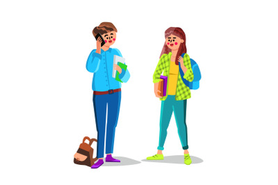 Students Teenagers With Backpack And Books Vector