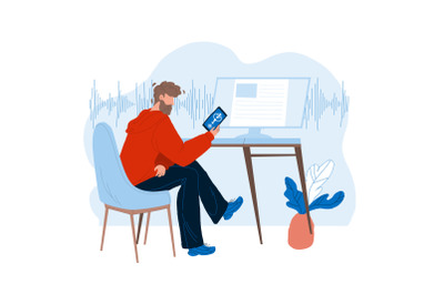 Voice Assistant Using Man On Smartphone Vector