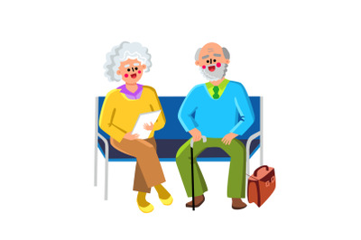 Waiting Room Sit On Chairs Elderly People Vector