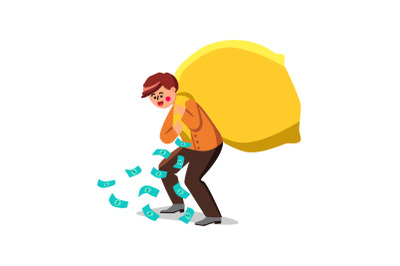 Wealth Businessman Carrying Bag With Money Vector