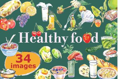 Healthy food, watercolor set