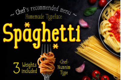 Spaghetti handwritten font