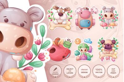 Set cute sticker - seamless pattern