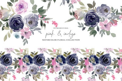 Pink & Indigo Watercolor Floral Clipart Set