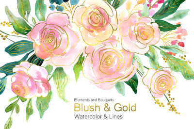 Blush Pink & Gold Flowers Roses