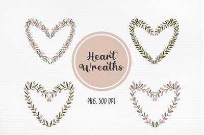 Heart Wreaths Valentines Day Clipart
