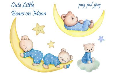 Cute Little Teddy Bears on Moon. Watercolor illustrations.ration