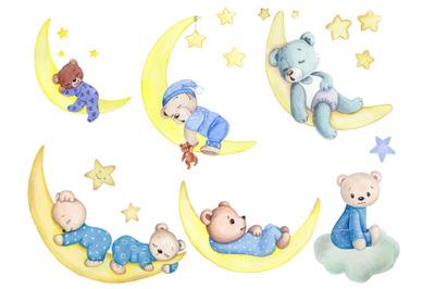 Set of 6 teddy bears  sleeping on Moon.