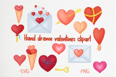 Hand drawn valentines clipart bundle