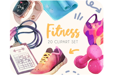 20 Fitness and workout cliparts - Sport & gym cute stickers