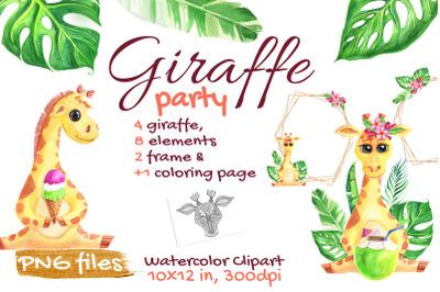 Cute Giraffe Watercolor Tropical Safari, African, Jungle