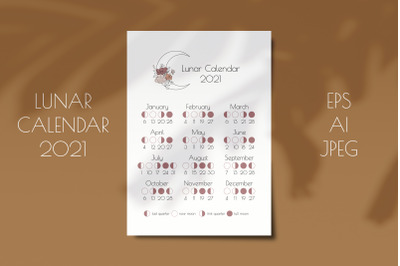 Lunar Calendar 2021, Printable Moon Phases Calendar
