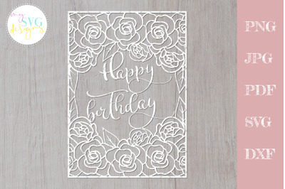 Happy birthday svg, Birthday card svg, Floral lace svg