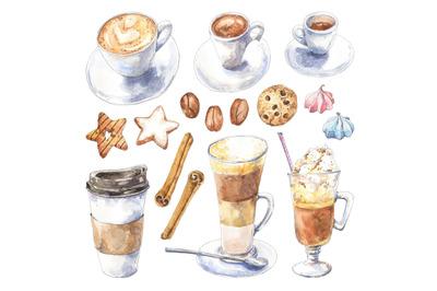 Coffee set - watercolor illustration, design elements.